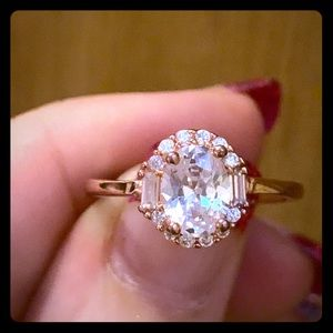 Rose gold plated rhodium white ice ring size 9